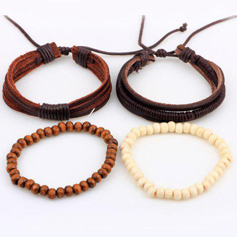 Outfits Beaded Layered Faux Leather Bracelets - COFFEE  Mobile