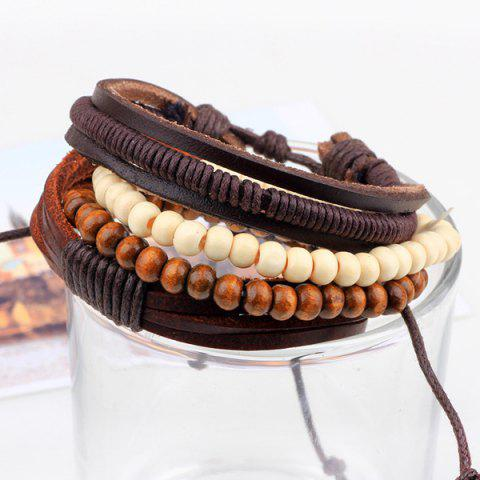 Discount Beaded Layered Faux Leather Bracelets - COFFEE  Mobile