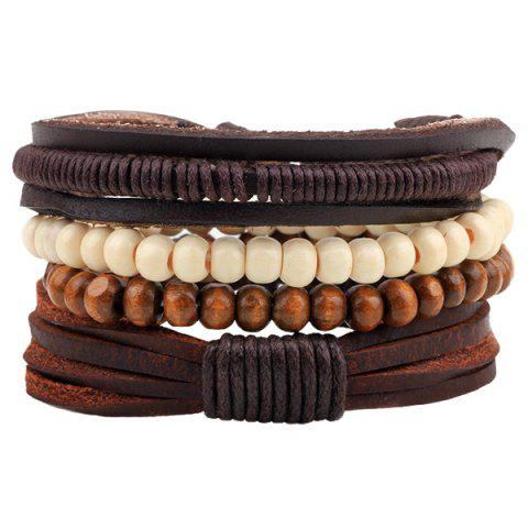 Beaded Layered Faux Leather Bracelets - Coffee - Xl