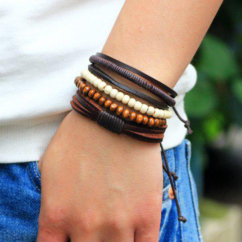 Outfit Beaded Layered Faux Leather Bracelets - COFFEE  Mobile