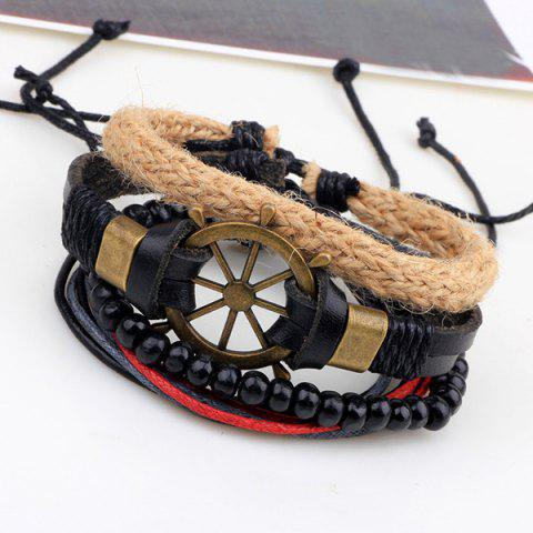 Outfits Rudder Beaded Faux Leather Bracelets - BLACK  Mobile