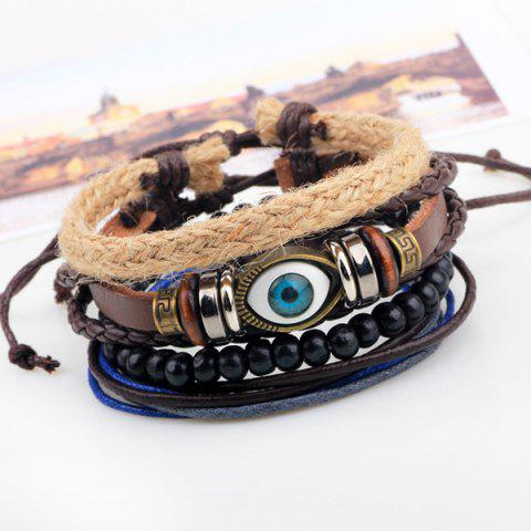 Unique Evil Eye Bead Braided Bracelets - COFFEE  Mobile