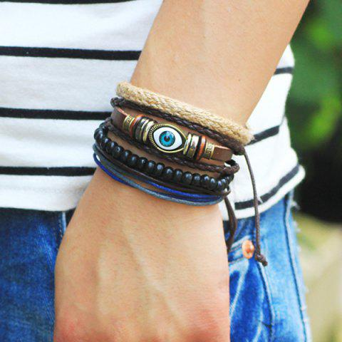 Discount Evil Eye Bead Braided Bracelets - COFFEE  Mobile