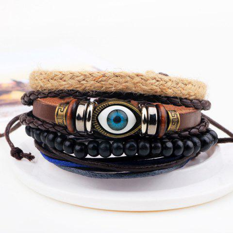 Outfits Evil Eye Bead Braided Bracelets - COFFEE  Mobile