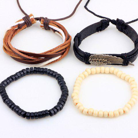 Cheap Wing Braided Bead Bracelets - BLACK  Mobile