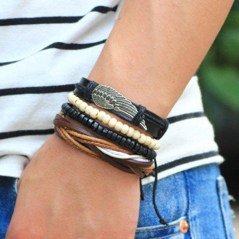 Outfits Wing Braided Bead Bracelets - BLACK  Mobile