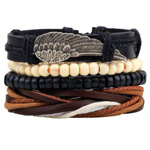 Discount Wing Braided Bead Bracelets BLACK