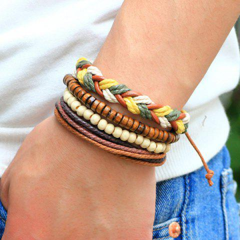 Unique Layered Bead Braided Bracelets - BROWN  Mobile