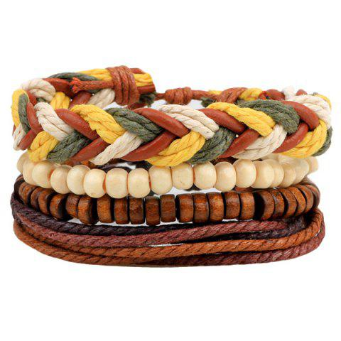 Outfits Layered Bead Braided Bracelets - BROWN  Mobile