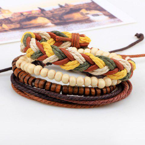 Best Layered Bead Braided Bracelets - BROWN  Mobile