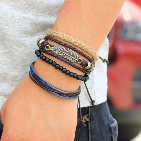 Best Vintage Feather Faux Leather Braided Bracelets - COFFEE  Mobile