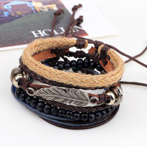 Outfit Vintage Feather Faux Leather Braided Bracelets - COFFEE  Mobile
