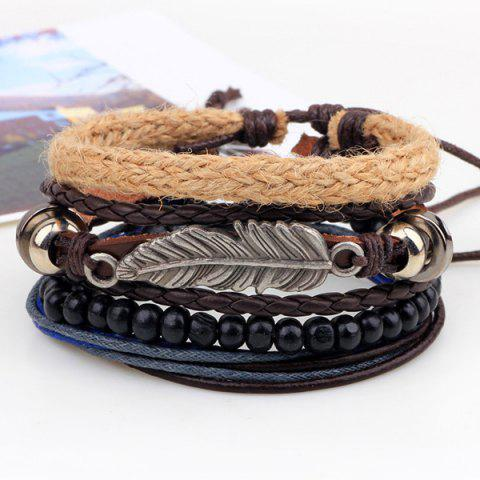 Cheap Vintage Feather Faux Leather Braided Bracelets - COFFEE  Mobile