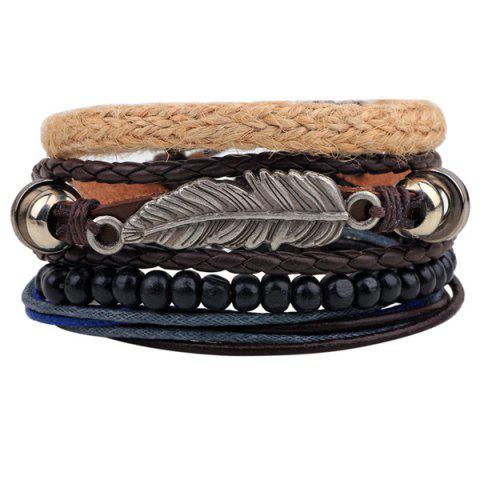 Vintage Feather Faux Leather Braided Bracelets - Coffee