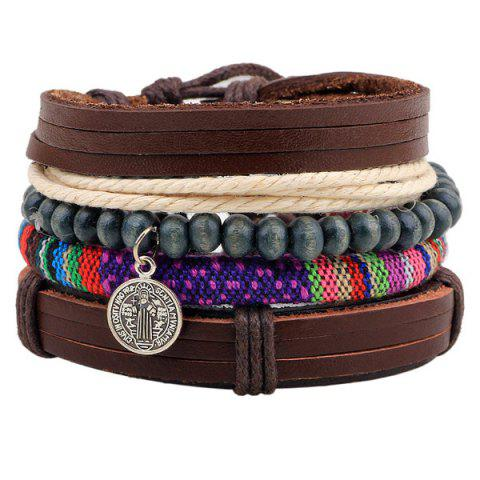 Best Coin Faux Leather Beads Wrap Bracelets - COFFEE  Mobile