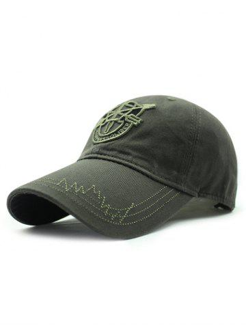Outfit Casual Shield Embroidery Baseball Hat ARMY GREEN