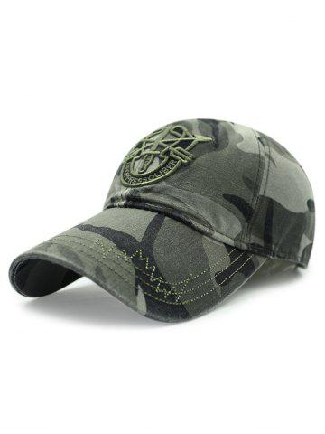 Online Casual Shield Embroidery Camouflage Pattern Baseball Hat