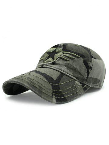 Casual Star Badge Embroidery Army Camouflage Print Baseball Hat - ARMY GREEN