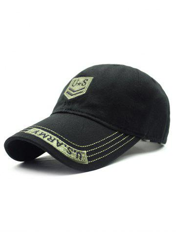 Trendy Casual USA Shield Embroidery Baseball Hat BLACK