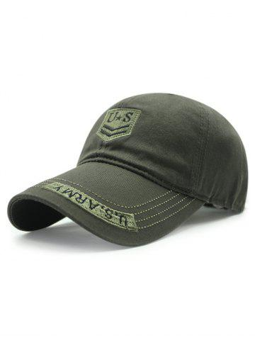 Casual USA Shield Embroidery Baseball Hat - Army Green
