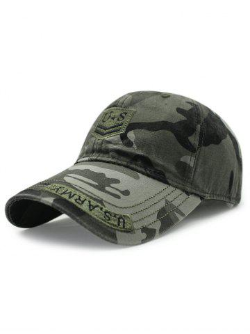 Outfit Casual USA Shield Embroidery Camouflage Pattern Baseball Hat ARMY GREEN