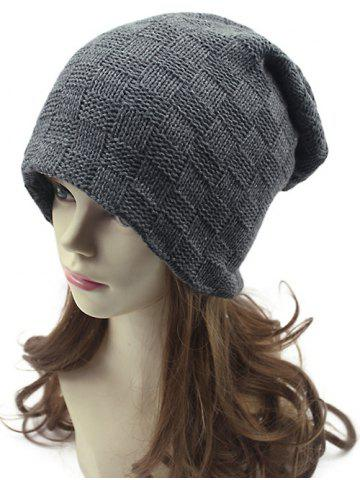 Casual Plaid Weaving Double-Deck Knit Beanie - Gray