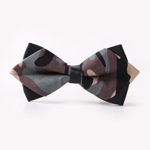 Store Banquet Camouflage Print Sharp-Angled Double-Deck Bow Tie GRAY