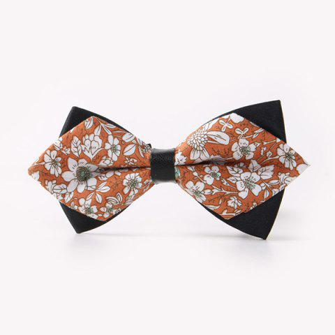 Unique Banquet Flowers Print Sharp-Angled Double-Deck Bow Tie
