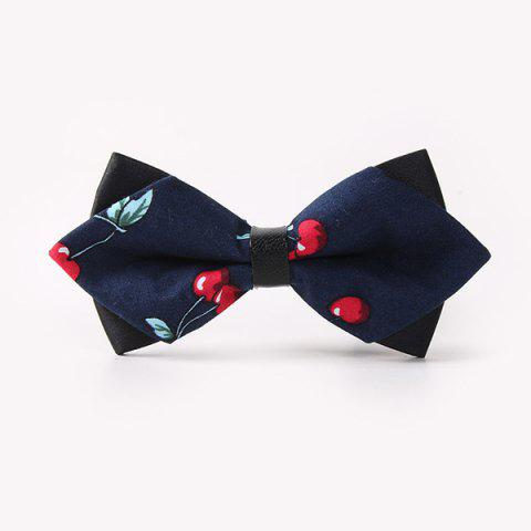 Cheap Banquet Cherry Print Sharp-Angled Double-Deck Bow Tie CADETBLUE