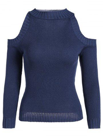 Chic Slim Cold Shoulder Pullover Knit Top DEEP BLUE ONE SIZE