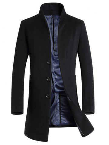 Fashion Single-Breasted Woolen Blend Stand Collar Coat BLACK 3XL