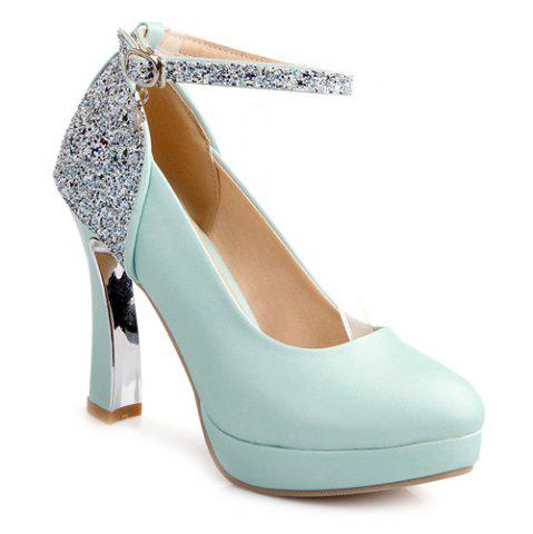 Store Ankle Strap Chunky Heel Sequin Pumps BLUE 43