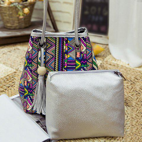 Discount Ethnic Style Tassel Printed Crossbody Bag