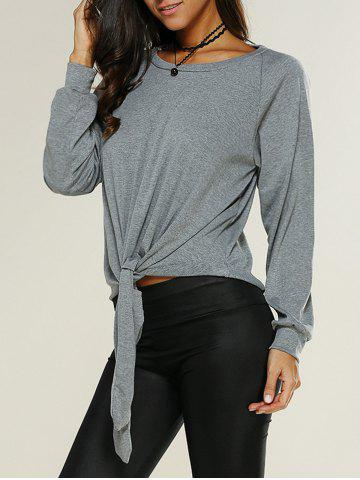Latest Knot Front Loose-Fitting Sweatshirt