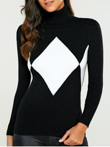 Turtleneck Color Block Argyle Sweater - White And Black - One Size
