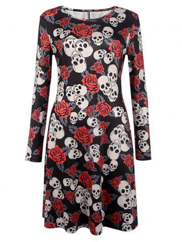 Sale Halloween Skull Print Long Sleeve Dress BLACK XL
