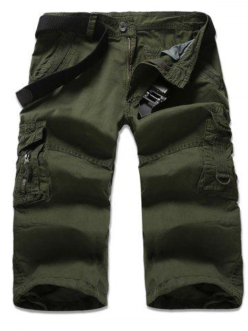 Fancy Zipper Fly Multi-Pocket Design Cropped Cargo Pants ARMY GREEN 36