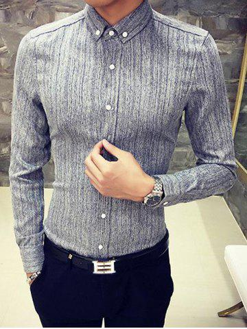 New Slim Fit Long Sleeve Button-Down Shirt GRAY XL