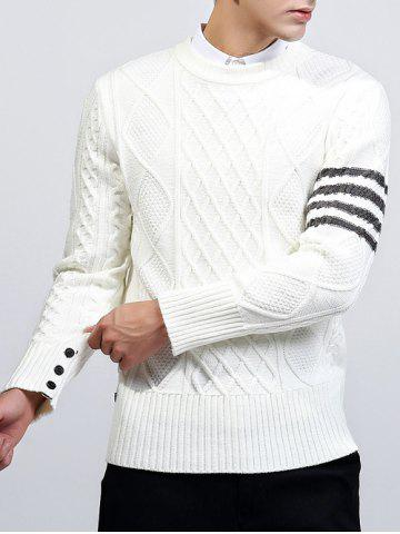 Affordable Geometric Pattern Button Embellished Crew Neck Sweater WHITE 2XL