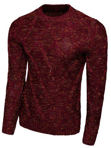 Unique Rhombus Pattern Long Sleeve Crew Neck Sweater RED 2XL