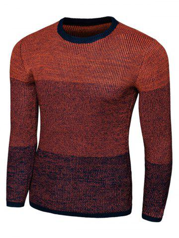 Shops Color Striped Long Sleeve Crew Neck Sweater RED 2XL