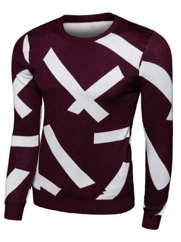 Buy Long Sleeve Cross Pattern Crew Neck Knitwear RED 2XL