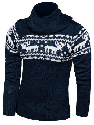 Outfit Button Scraf Collar Long Sleeve Christmas Sweater BLUE 2XL