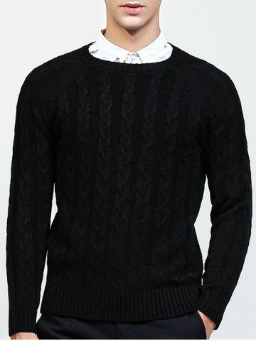 New Round Neck Raglan Sleeve Cable-Knit Sweater