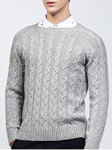 Chic Round Neck Raglan Sleeve Cable-Knit Sweater GRAY 2XL