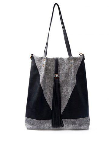 Outfit Colour Block Tassels Metal Shoulder Bag