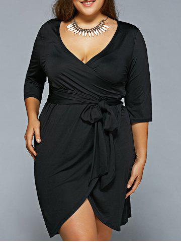 Store Plunging NeckBelted Wrap Dress BLACK 6XL