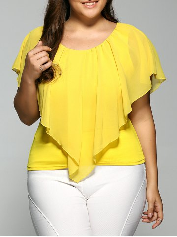 Outfit Overlay Chiffon Plus Size Spliced Top