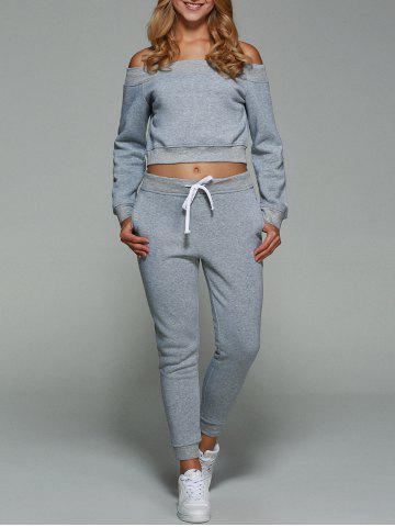 Unique Active Off Shoulder Cropped Sweatshirt With Pants Gym Suit