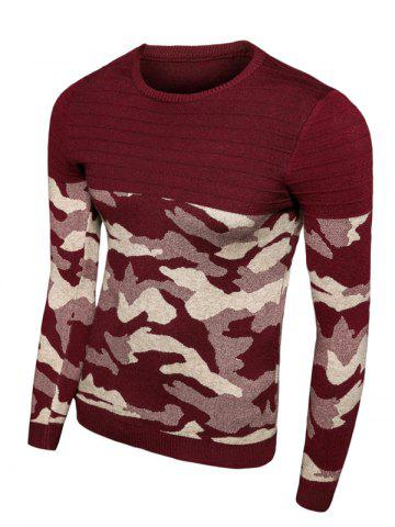 Affordable Crew Neck Camouflage Splicing Long Sleeve Sweater